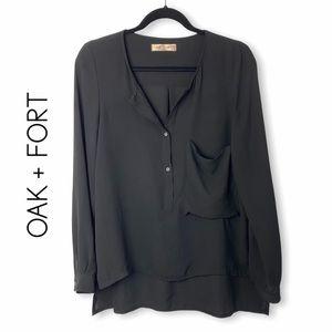 OAK + FORT Long Sleeve Sheer High Low Blouse